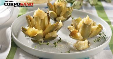 Alcachofas rellenas de puré con tres quesos
